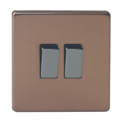 Varilight XDY2S.BZ Screwless Brushed Bronze 2 Gang 10A 1 or 2 Way Rocker Light Switch